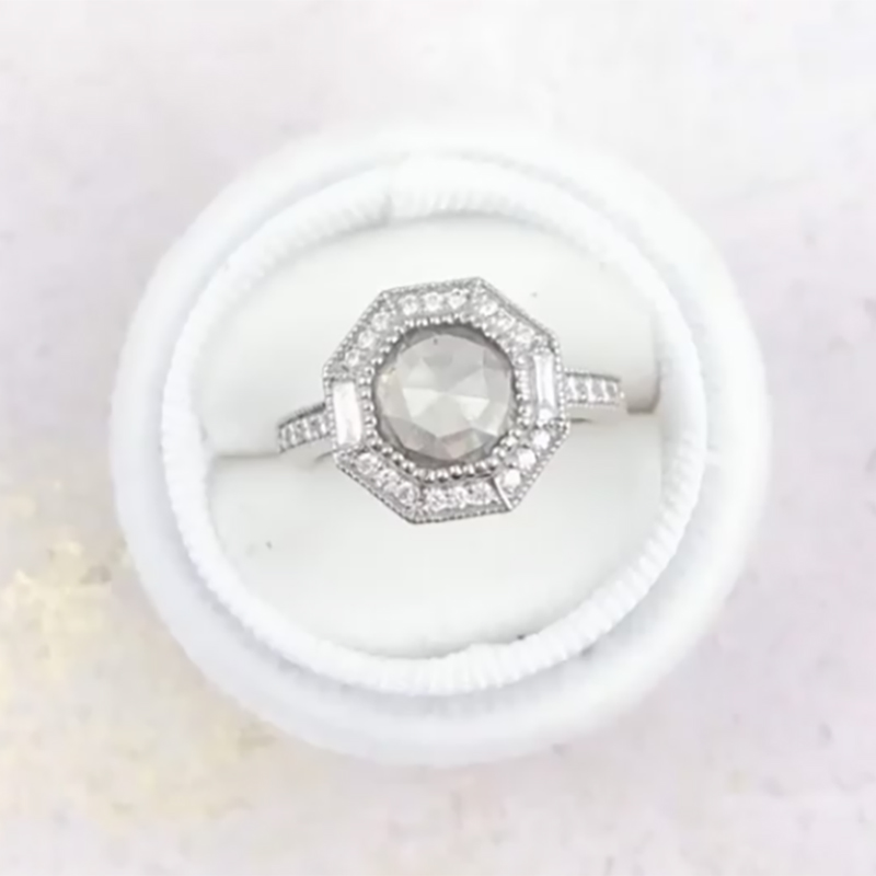 We're calling this little Art Deco beauty Monroe. Because it reminds me of old Hollywood. A 1.9 ct grey rose cut diamond center