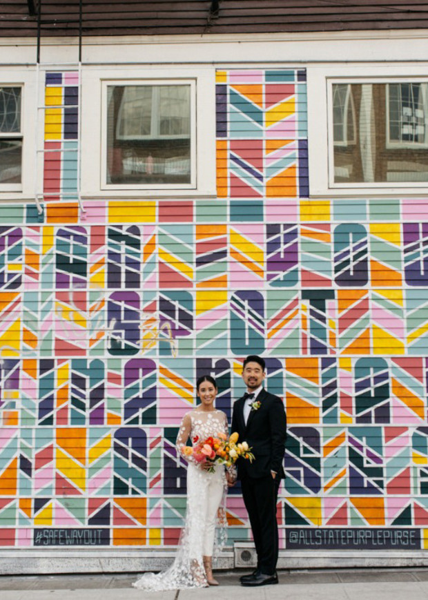 Color filled and modern wedding