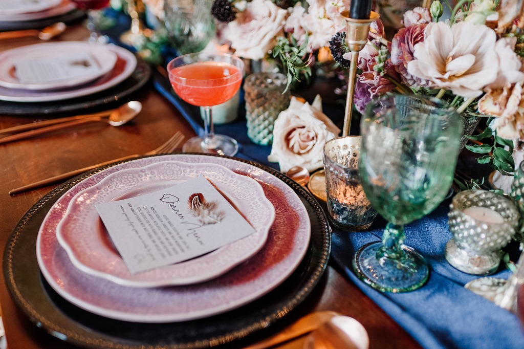 Texture and color create a moody vibe that is perfect for any venue.
