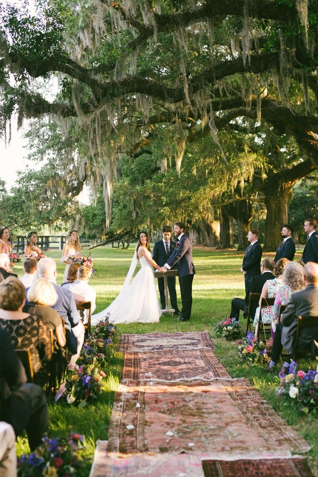 outdoor vintage boho ceremony