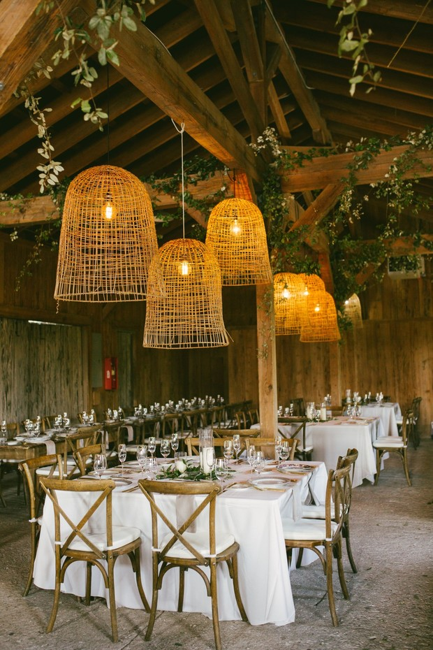 wedding reception decor with basket lights