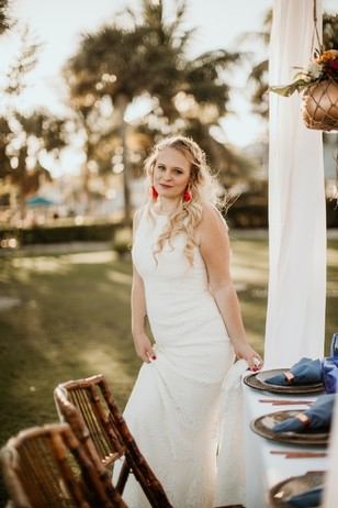 bride at her tropical wedding day