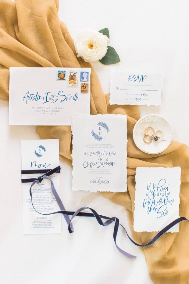 blue calligraphy wedding invitation suite