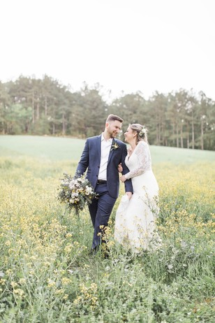 farm wedding couple
