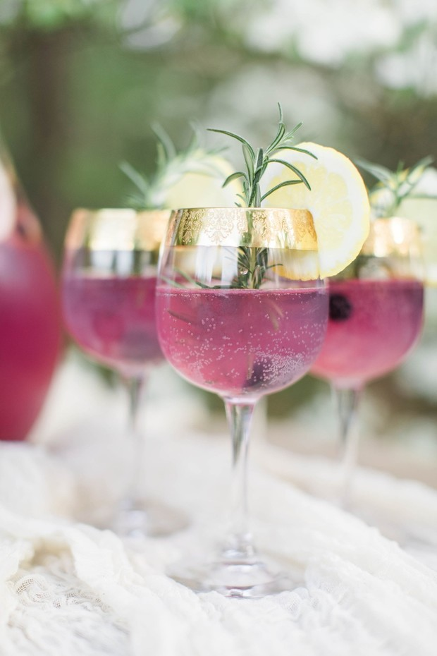 rosemary and lemon garnished cocktails