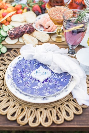blue and white patterned table setting