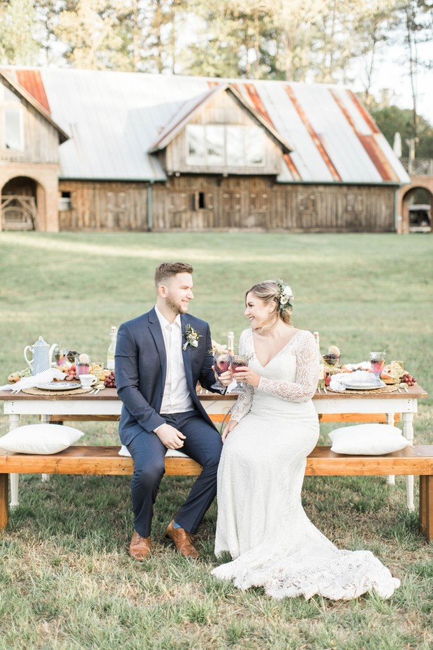 bride and groom at their farm wedding reception