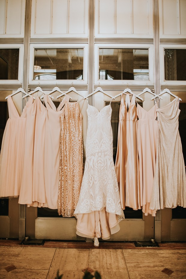 wedding dress and bridal party dresses