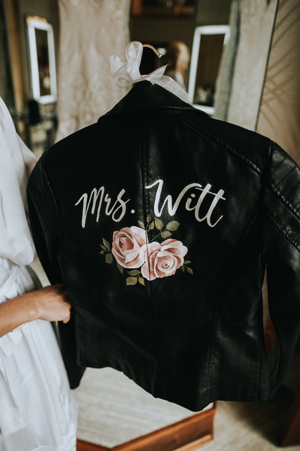 wedding painted leather jacket