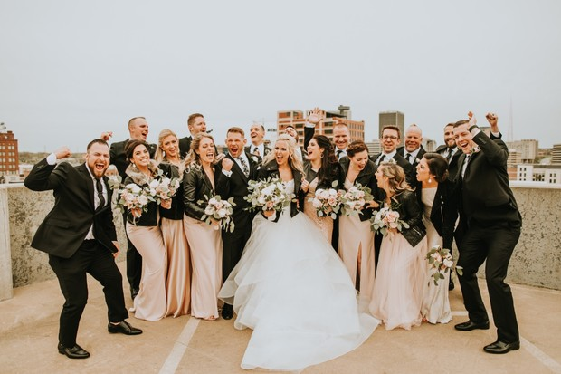 dramatic style wedding party in blush and black