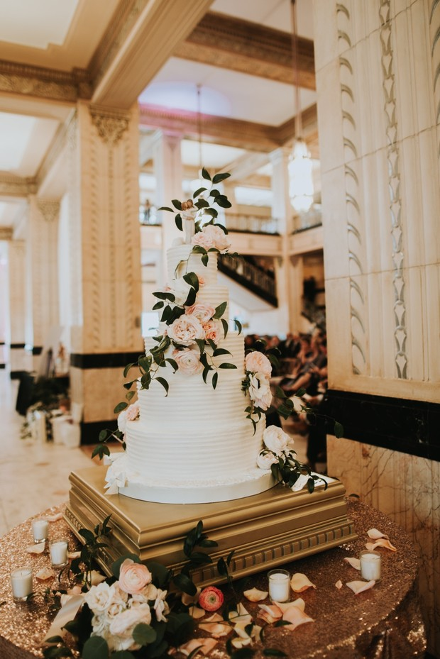 flower accented wedding cake