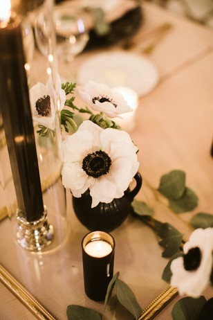 white and black dramatic table decor
