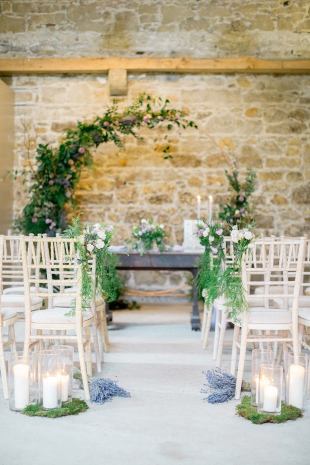 green and lavender wedding ceremony