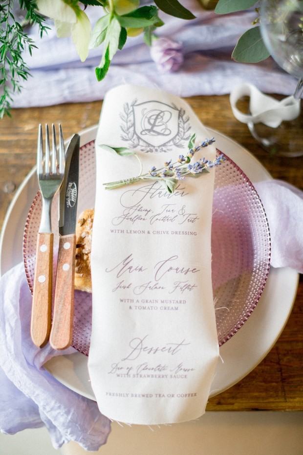 cotton wedding menu
