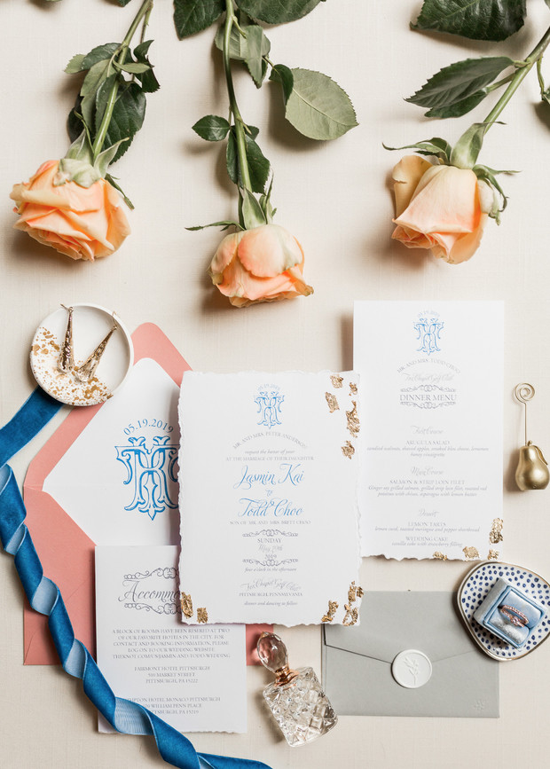blue and gold leaf wedding invitations