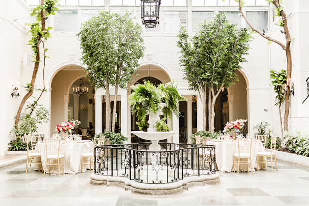 wedding reception with romantic decor and bright natural light