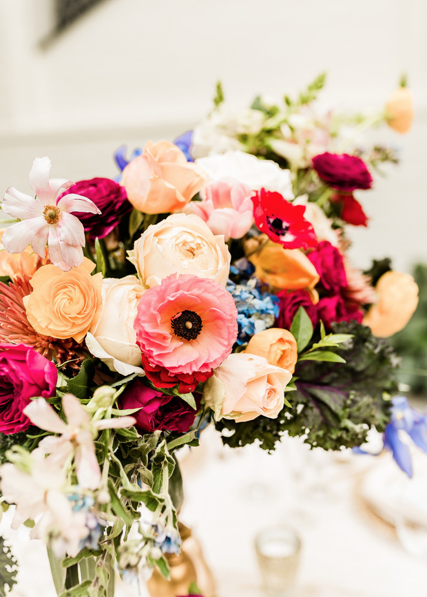 bold and moody wedding floral decor