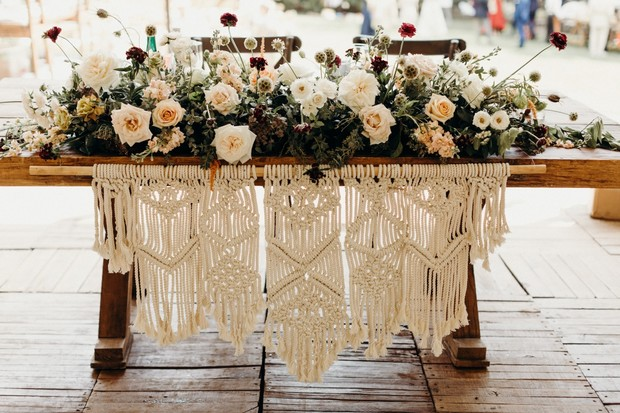 macrame sweetheart table wedding