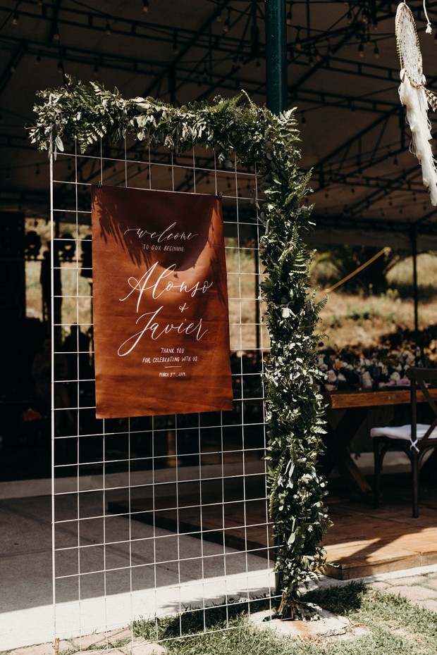 leather wedding sign