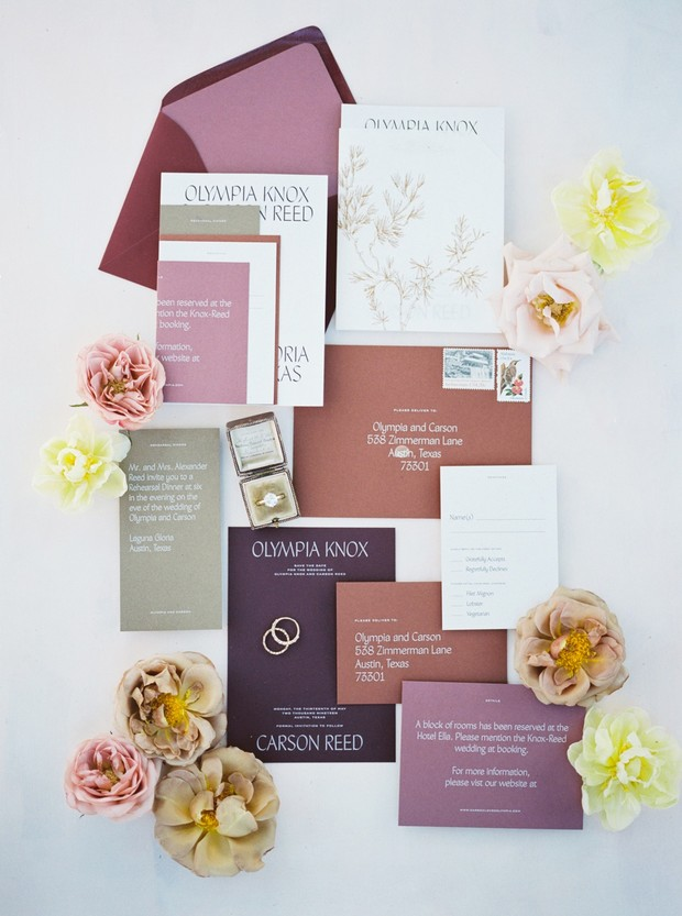 fall color palette wedding invitation suite