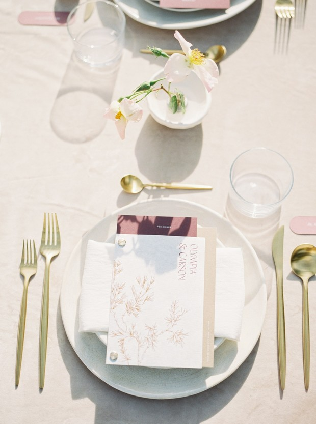gold and rose wedding place setting