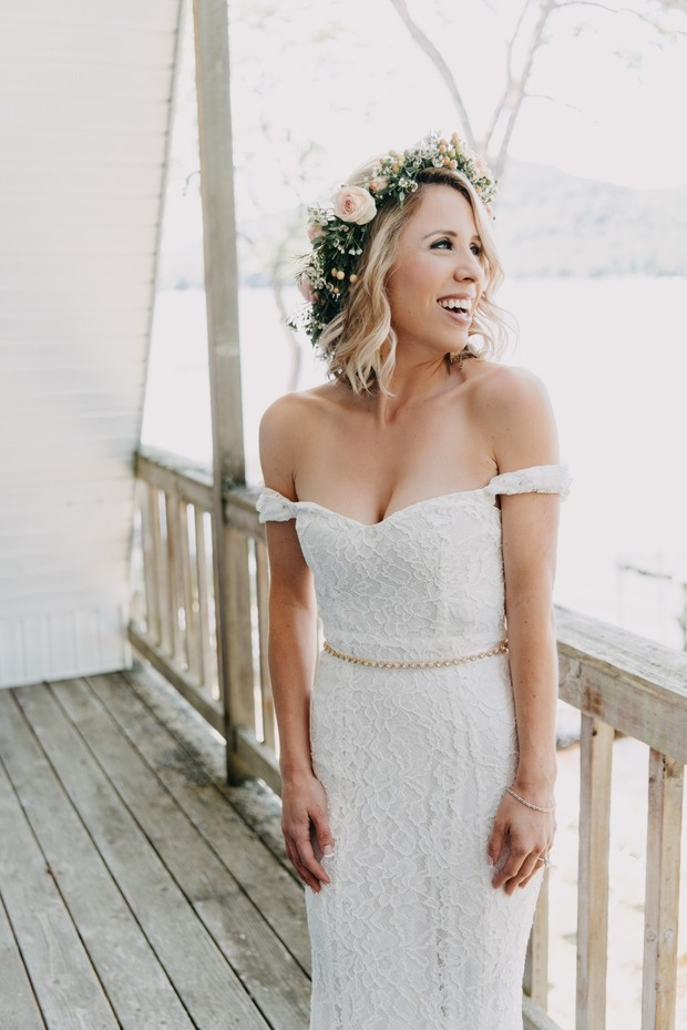 off shoulder lace wedding dress
