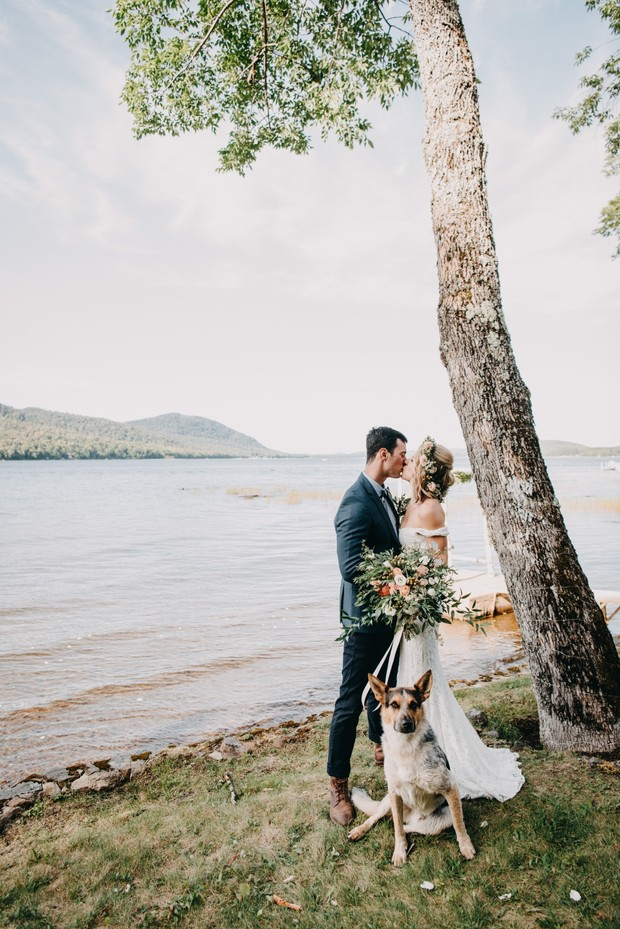 intimate wedding on a lake
