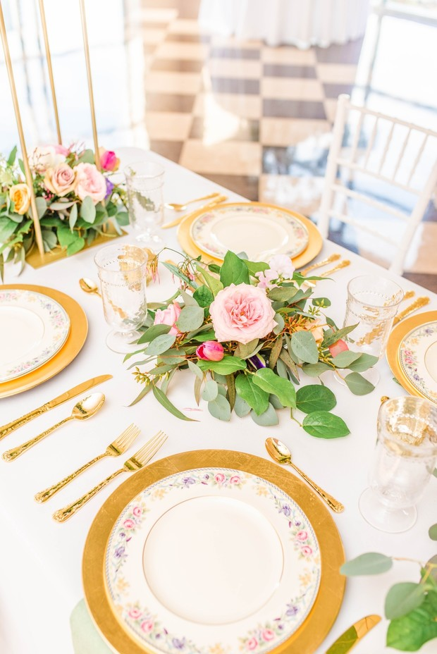 gold and floral print china place settings