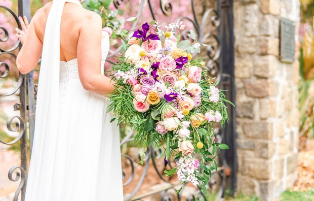 cascading springtime wedding bouquet
