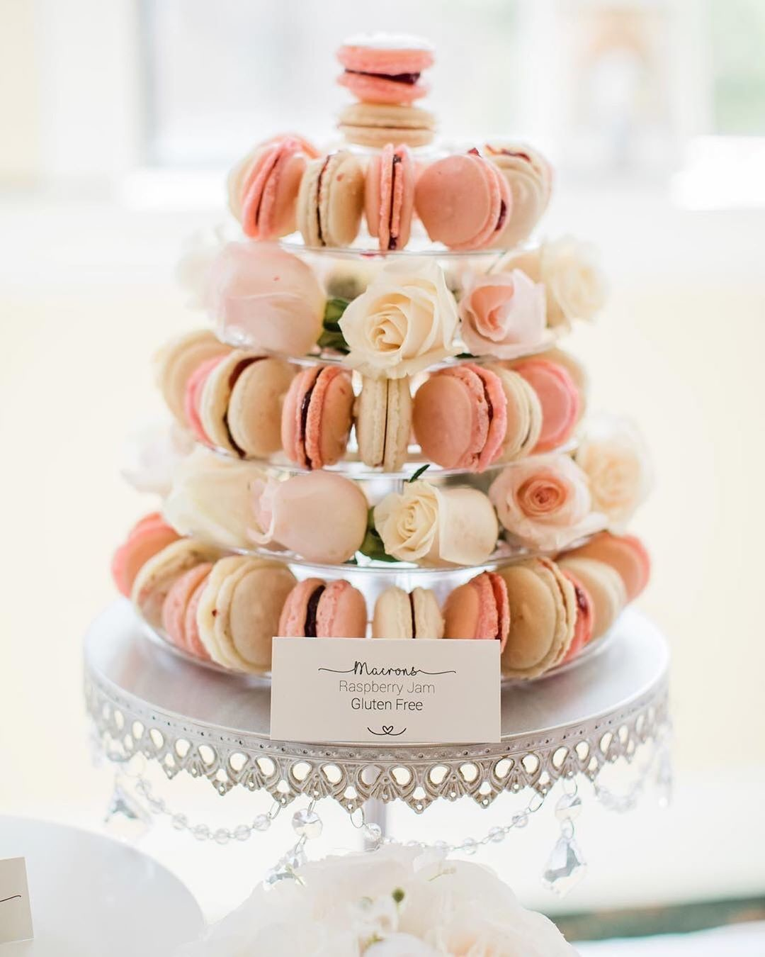 🧡Macaron Tower🧡on our Antique Silver Chandelier Cake Stand!