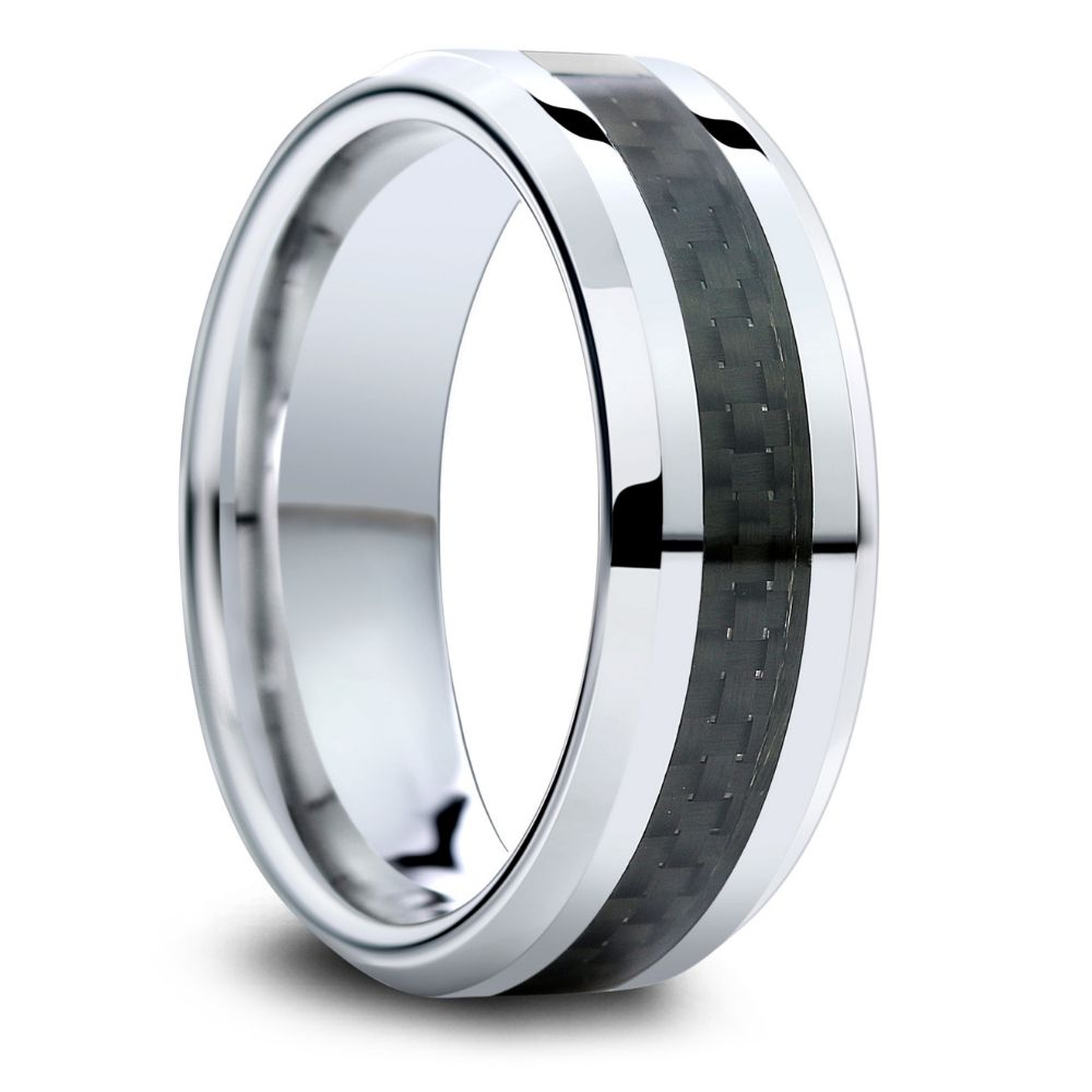 Mens carbon fiber wedding ring crafted out of tungsten carbide. Super durable and super comfy. Truly a unique men's wedding ring.