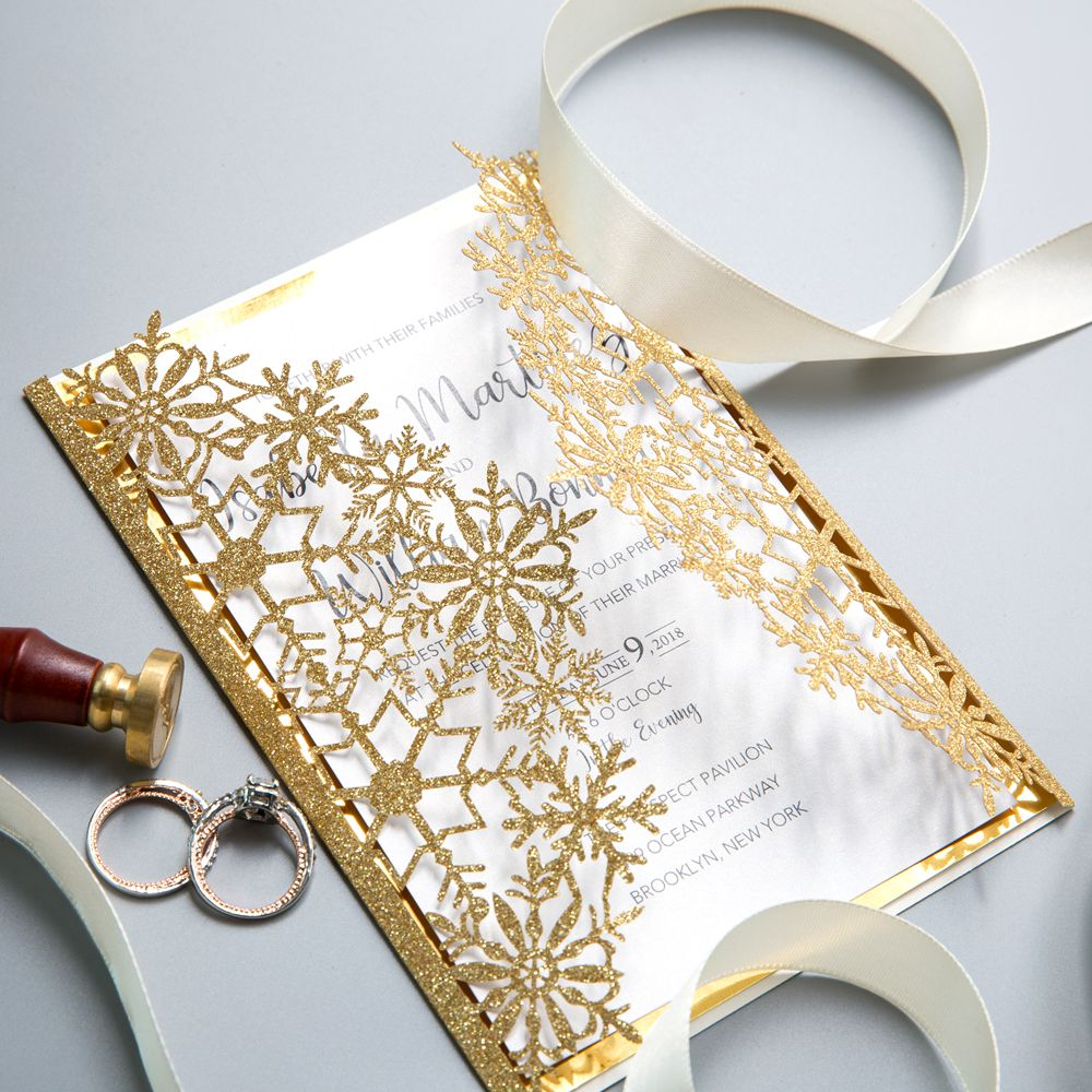 This gold shimmer invitation adopts a relaxed swirling pattern. It holds a classical design that is mounted on a Glittery Champagne