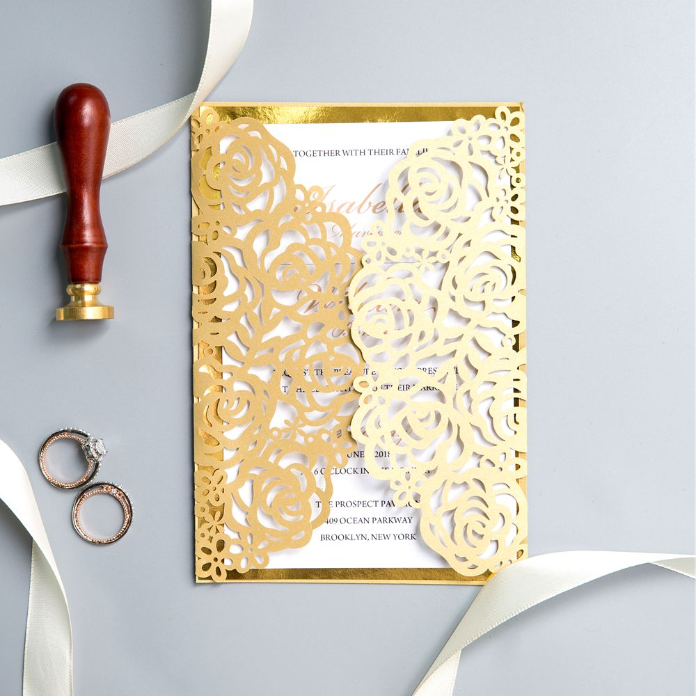 This invitaion is so charming with its gold intricate pattern. Inside it is a gold glitter mirror paper back. At last, the whole collective