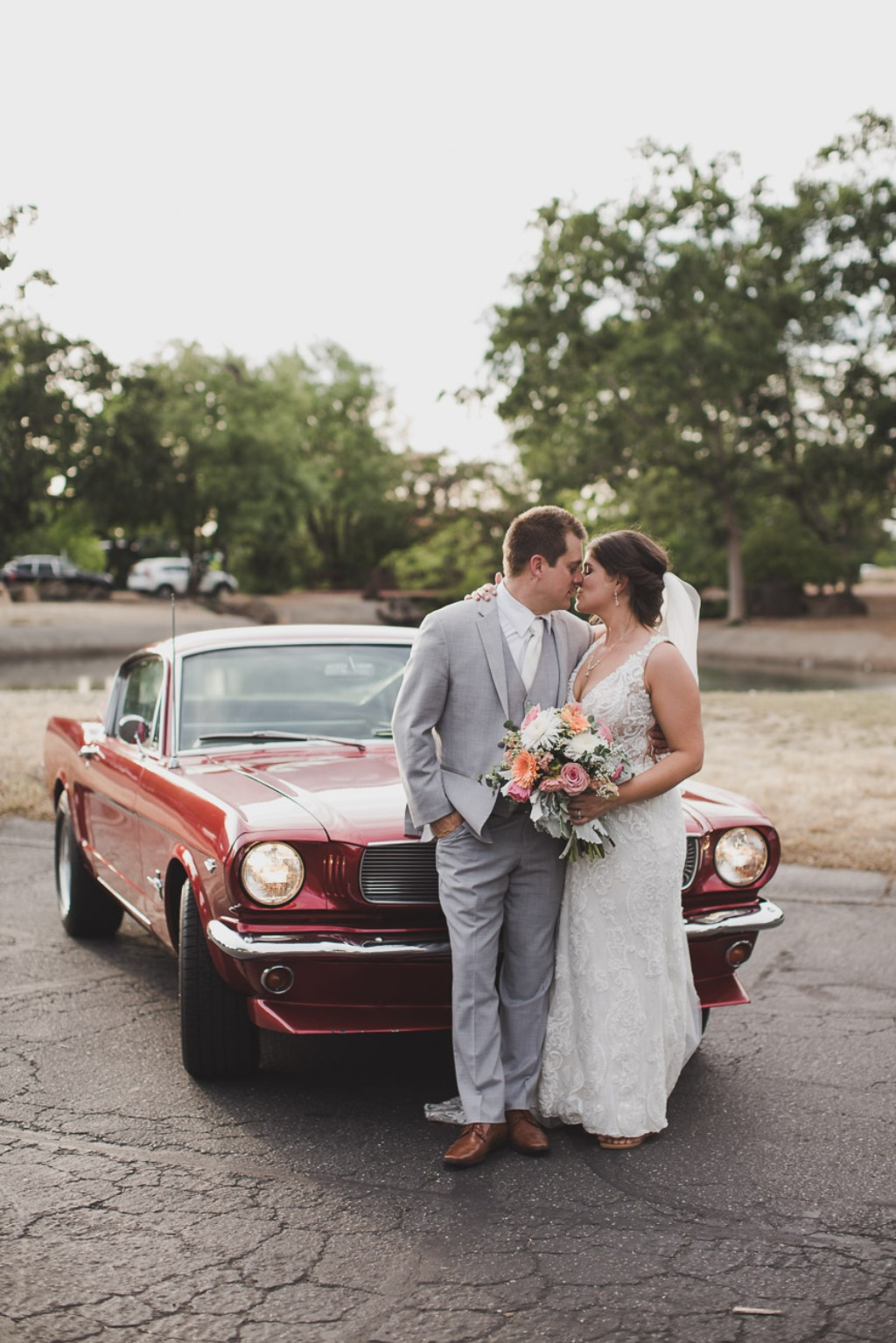 Love by this Mustang! Wedding car getaways and sunset photos!