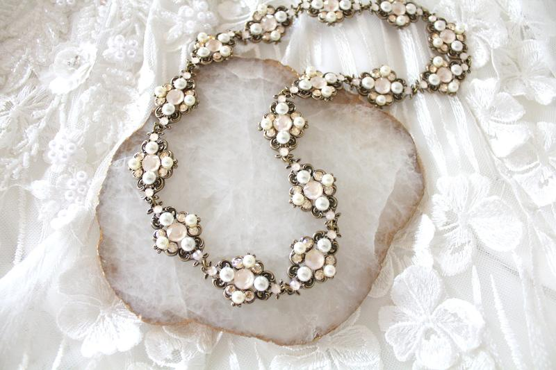 Beautifully handcrafted antique gold Swarovski crystal Bridal headband with ivory cream and golden shadow crystals