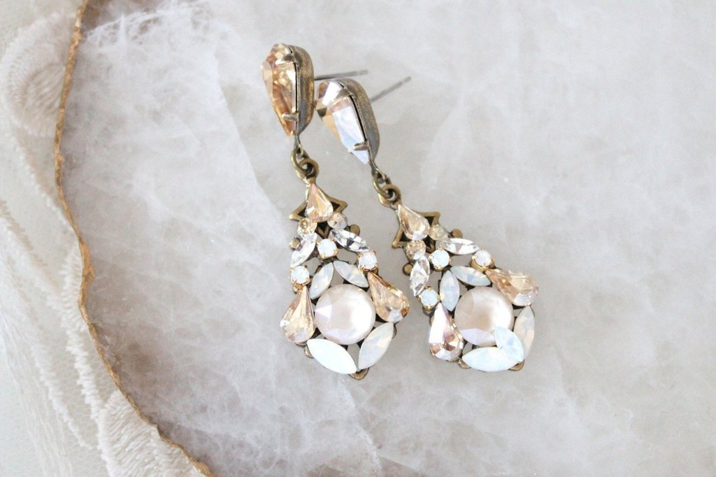 Antique Gold vintage style Swarovski crystal Wedding earrings crafted in my studio with layers of Swarovski crystals in different colors