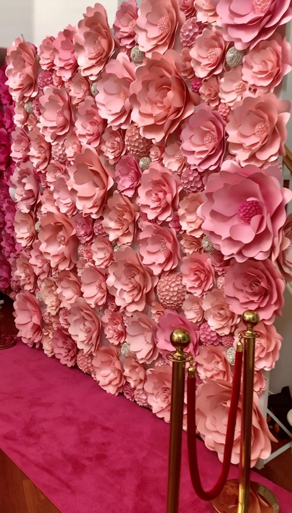 I create customized, handcrafted freestanding flower wall backdrops ranging from 8 ft tall by 6 ft wide to as large as 12 ft tall by