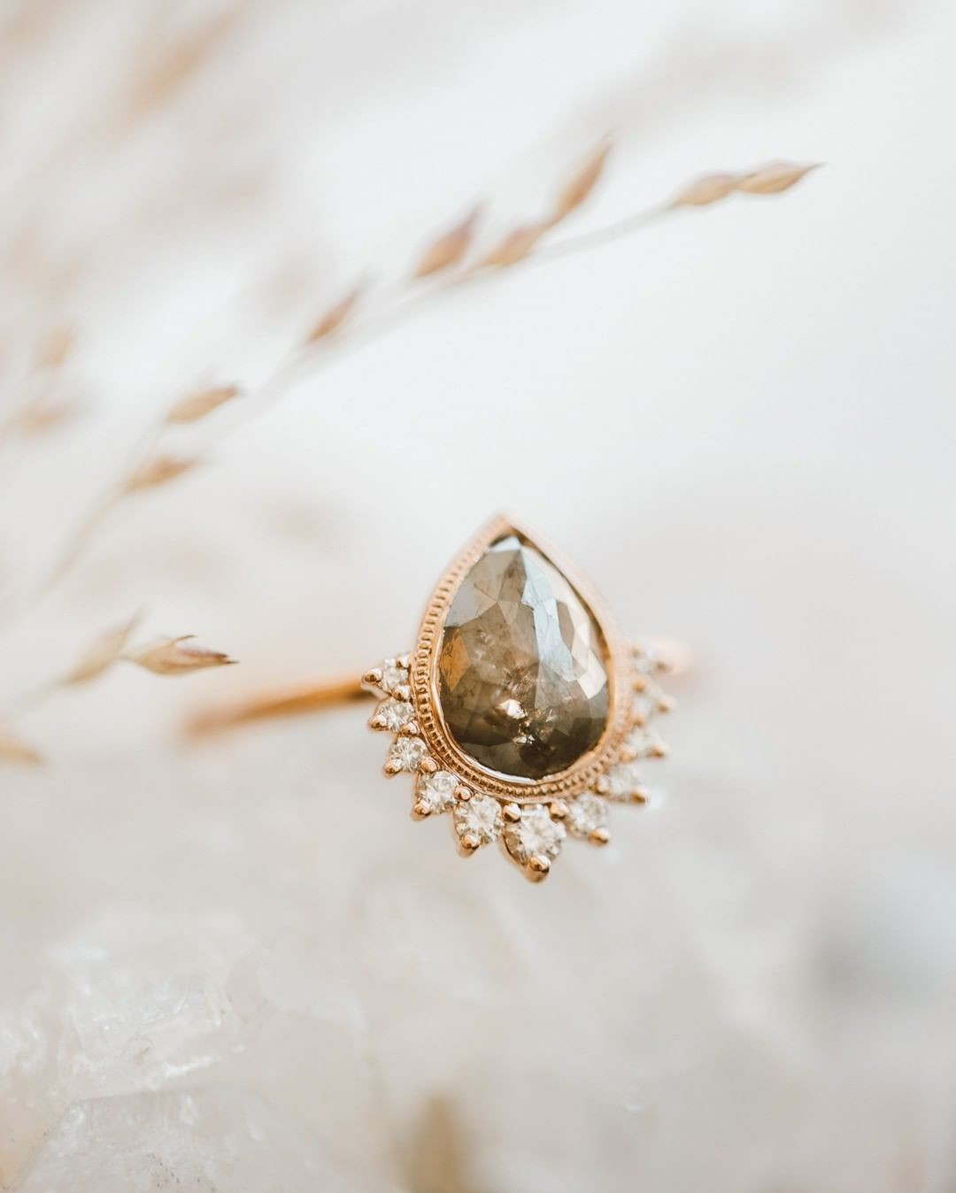 Loving this brand new pear rough cut diamond ring with a starburst diamond flare in 14k rose gold. Available now at our Tennyson boutique