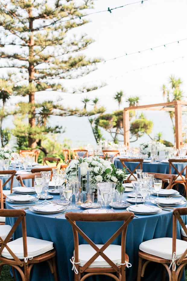 blue and ivory wedding reception