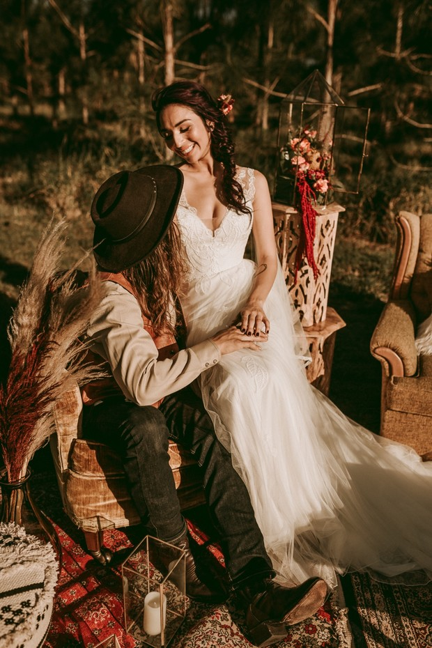 rustic boho wedding couple