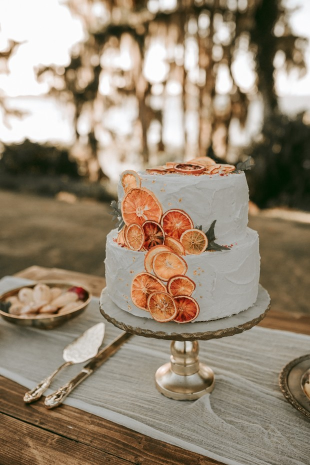 wedding cake with baked orange accents