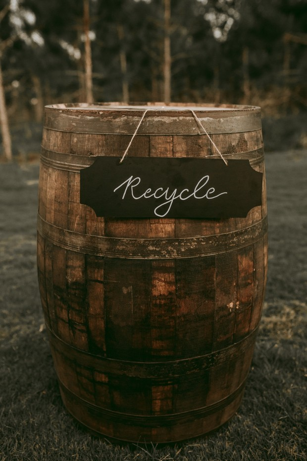 wedding recycling barrel