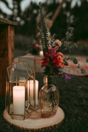 candle lit wedding aisle decor