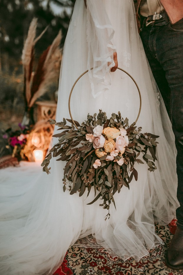 hoop wedding bouquet