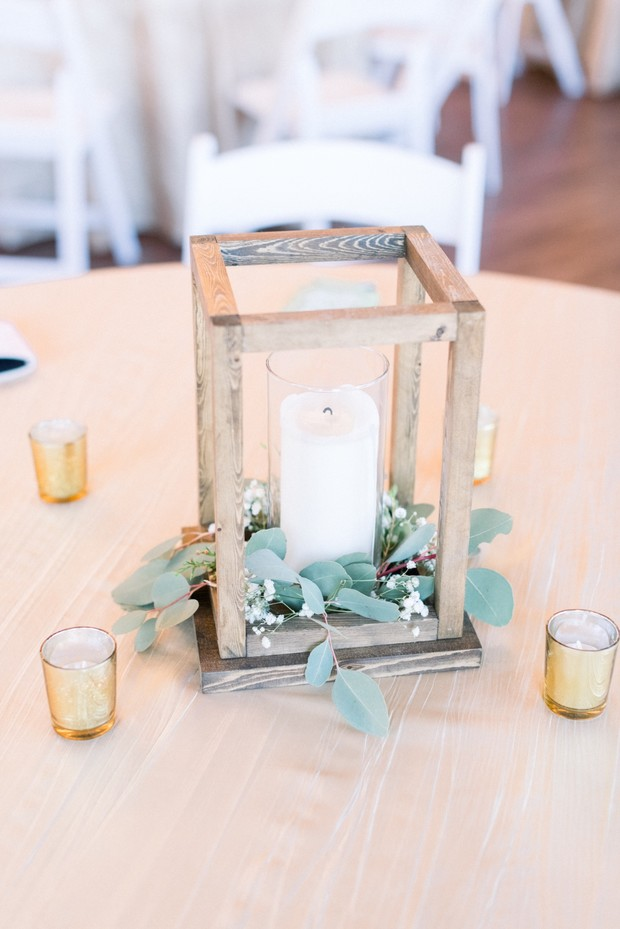 rustic candle table centerpiece