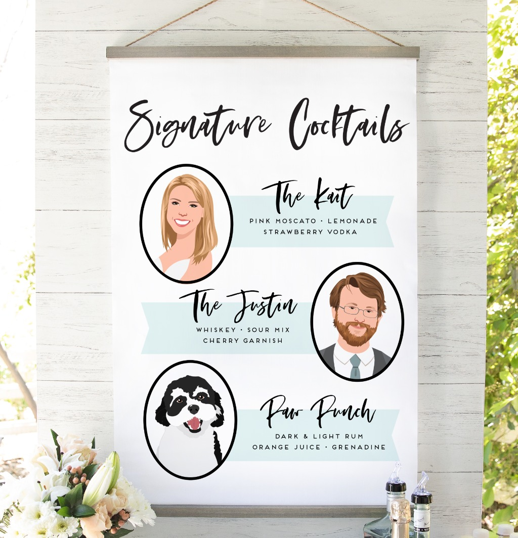 This signature cocktail sign features your signature cocktail with three illustrated portraits. Not only does this bar sign make the