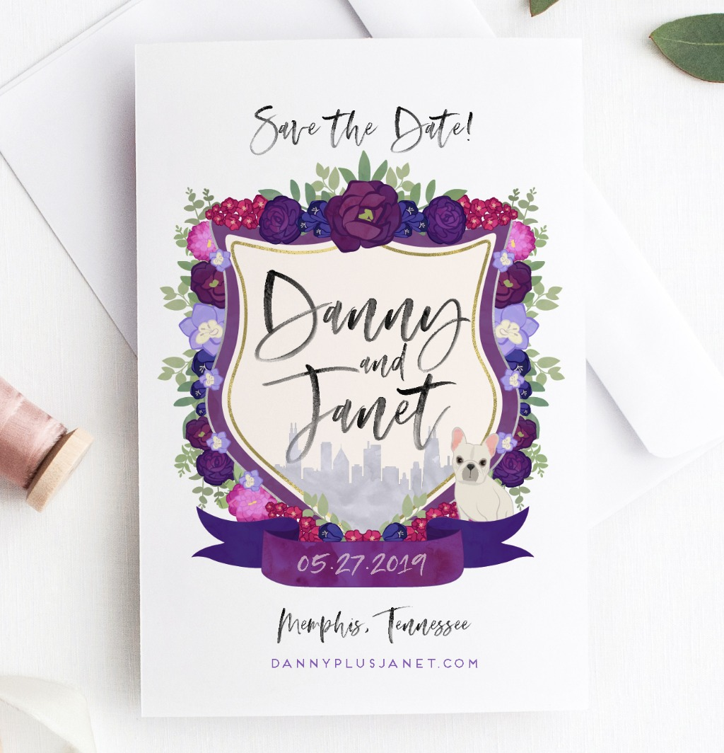 These custom wedding crest cards save the date with serious style. Featuring a custom watercolor crest created just for you, the art