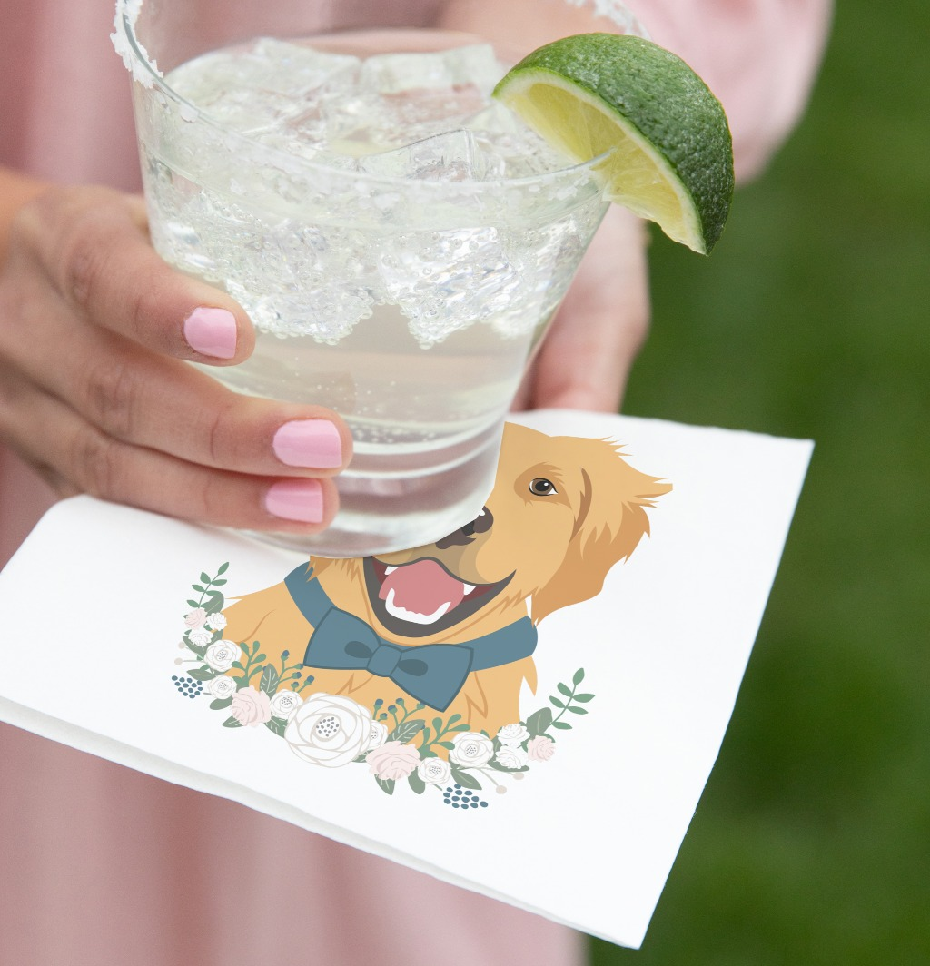 If you are looking for more ways to include your pet in your wedding, nothing is cuter than napkins featuring your fur babies! Our
