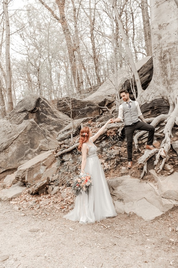 wedding shoot in the woods