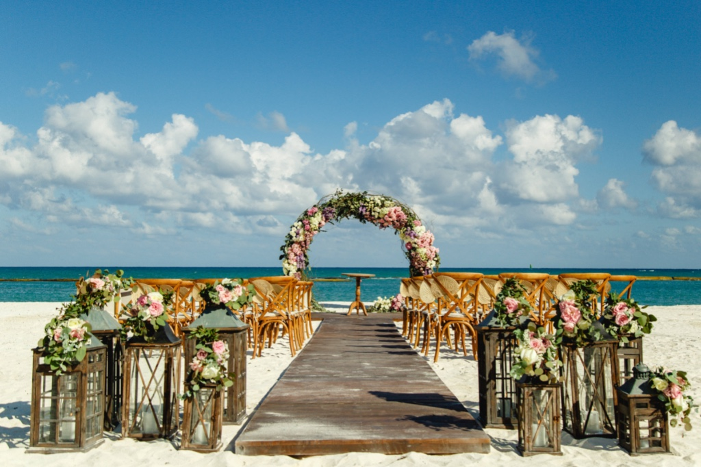 Chic and romantic ceremony set up with a perfect ocean view